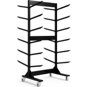 "Double Sided Stock Rack 45""Wx42""Dx91""H Mobile 6 Level Black"