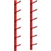 """Stock Rack 42""""Wx23""""Dx72""""H Wall Mounted 6 Level Red"""