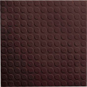 "Raised Circular Design Rubber Tile 19.69"" x 19.69"" x .125"" Brown"