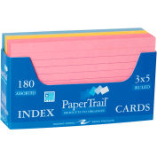 """Roaring Spring Ruled Index Cards in a Tray, 3"""" x 5"""", Assorted Pastel, 180 Cards/Set, 36 Sets"""