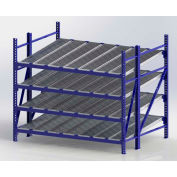 "UNEX RR99S2R8X6-S Gravity Flow Roller Rack with Span Track Starter 96""W x 72""D x 84""H with 4 Levels"