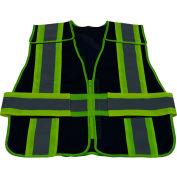 Petra Roc Two Tone 5-Point Breakaway Public Safety Vest, Zipper Closure, Navy/Lime, 2XL-5XL