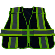 Petra Roc Two Tone 5-Point Breakaway Public Safety Vest, Zipper Closure, Navy/Lime, S-XL