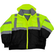 Petra Roc Waterproof Bomber Jacket W/Removable Fleece Liner, ANSI Class 3, Lime/Black, XL