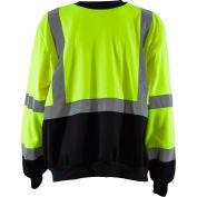 Petra Roc HiVis Crew Neck Sweatshirt, ANSI Class 3, Polar Fleece, Lime/Black, M