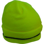 Petra Roc Hi-Visibility Safety Beanie Hat with Reflective Woven Stripe, Lime, One Size