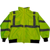 Petra Roc Waterproof Bomber Jacket W/Removable Fleece Liner, ANSI Class 3, Lime, XL