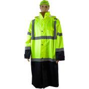 "Petra Roc 48"" Two Tone Waterproof Rain Coat, ANSI Class 3, Lime/Black, Size L"