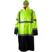 "Petra Roc 48"" Two Tone Waterproof Rain Coat, ANSI Class 3, Lime/Black, Size XL"