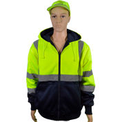 Petra Roc 20 Oz. Reversible Zip-Up Hooded Sweatshirt, ANSI Class 3, Lime/Navy, L, LNRVDWZHSW-C3-L