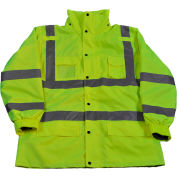 Petra Roc 3-In-1 Waterproof Parka Jacket, ANSI Class 3, 300D Oxford Shell/Fleece Lining, Lime, 4XL