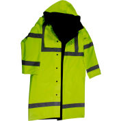 "Petra Roc 48"" Waterproof Reversible Raincoat, ANSI Class 3, 300D Oxford/PU Coating, Lime/Black, L"