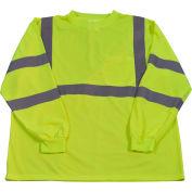 Petra Roc Long Sleeve T-Shirt, ANSI Class 3, Polyester Birdseye Mesh, Lime, 2XL