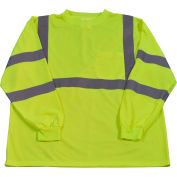 Petra Roc Long Sleeve T-Shirt, ANSI Class 3, Polyester Birdseye Mesh, Lime, 5XL