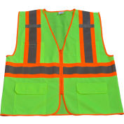 Petra Roc Two Tone DOT Safety Vest, ANSI Class 2, Polyester Solid, Lime/Orange, L/XL