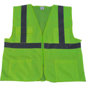 Petra Roc Front Solid Mesh Back Safety Vest, ANSI Class 2, Lime, 4XL/5XL