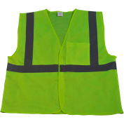 Petra Roc Economy Safety Vest, ANSI Class 2, Velcro® Closure, Polyester Mesh, Lime, L/XL