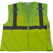 Petra Roc Multi-Pocket Surveyor's Safety Vest, ANSI Class 2, Polyester Mesh, Lime, S/M