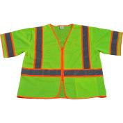 Petra Roc Two Tone DOT Vest, ANSI Class 3, Zipper Closure, Polyester Mesh, Lime/Orange, 4XL/5XL