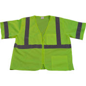 Petra Roc Safety Vest, ANSI Class 3, Zipper Closure, 2 Pockets, Polyester Mesh, Lime, L/XL