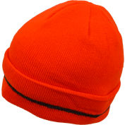 Petra Roc Hi-Visibility Safety Beanie Hat with Reflective Woven Stripe, Orange, One Size