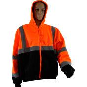 Petra Roc Hooded Sweatshirt W/Liner, ANSI Class 3, 2 Slash Pockets, Polar Fleece, Orange/Black, S