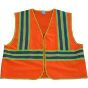 "Petra Roc Two Tone DOT Safety Vest W/1"" Reflective Tape, Class 2, Polyester Solid, Orange, S/M"