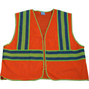 "Petra Roc Two Tone DOT Safety Vest W/1"" Reflective Tape, Class 2, Polyester Mesh, Orange, L/XL"