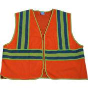 "Petra Roc Two Tone DOT Safety Vest W/1"" Reflective Tape, Class 2, Polyester Mesh, Orange, L/XL"
