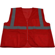 Petra Roc Special Identification Vest, Polyester Mesh, Zipper Closure, Red, L/XL