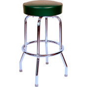 """30"""" Backless Swivel Bar Stool with Chrome Frame and Green Seat"""