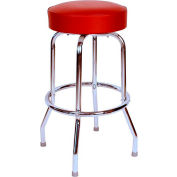"30"" Backless Swivel Bar Stool with Chrome Frame and Wine Seat"