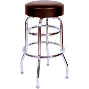 "Double Rung 30"" Backless Swivel Bar Stool with Chrome Frame and Black Seat"