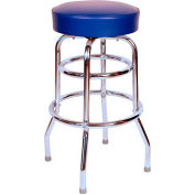 "Double Rung 30"" Backless Swivel Bar Stool with Chrome Frame and Blue Seat"