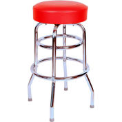 "Double Rung 30"" Backless Swivel Bar Stool with Chrome Frame and Red Seat"