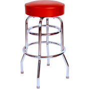 "Double Rung 30"" Backless Swivel Bar Stool with Chrome Frame and Wine Seat"