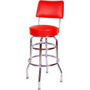 "30"" Double Ring Swivel Bar Stool with Back Chrome Frame and Red Seat"