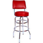 "30"" Double Ring Swivel Bar Stool with Back Chrome Frame and Wine Seat"