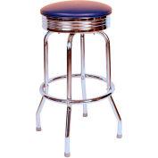 "1950s Chrome Swivel Bar Stool with Blue Seat Metal 30"" Bar Stool"