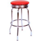 "1950s Chrome Swivel Bar Stool with Red Seat Metal 30"" Bar Stool"