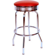 "1950s Chrome Swivel Bar Stool with Wine Seat Metal 30"" Bar Stool"