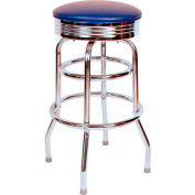 "Retro Chrome Swivel Bar Stool with Blue Seat Metal 30"" Bar Stool"
