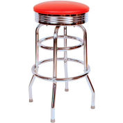 "Retro Chrome Swivel Bar Stool with Red Seat Metal 30"" Bar Stool"