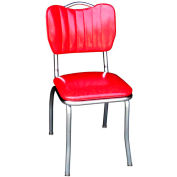 "Cracked Ice Red Handle Back Retro Kitchen Chair with Single Tone Channel Back and 1"" Pulled Seat"