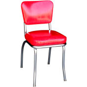 """Cracked Ice Red Retro Chrome Kitchen Chair with 2"""" Box Seat"""
