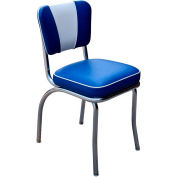 """Royal Blue and White V-Back Chrome Diner Chair with 2"""" Box Seat"""