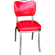 "Handle Back Chrome Diner Chair in Cracked Ice Red with 2"" Box Seat"