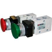 """ROSS® Pneumatic Mushroom Green Push Button Valve 1223B1MBG, 1/8"""" NPT"""