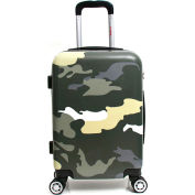 """InUSA PRINTS Lightweight Hardside Luggage Spinner 20"""" Carry-On - Green Camouflage"""