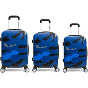"InUSA PRINTS Lightweight Hardside Spinner 3-Piece Luggage Set 20""/24""/28"" - Blue Camouflage"